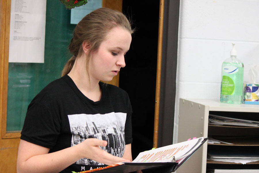 "Senior Abbigail Nelson rehearses lines from the play ""Antigone""."