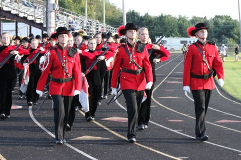 The drum majors lead the band
