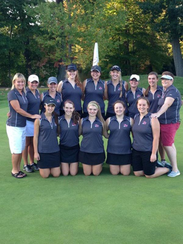 Girl's golf team poses for 2014-2015 season picture.