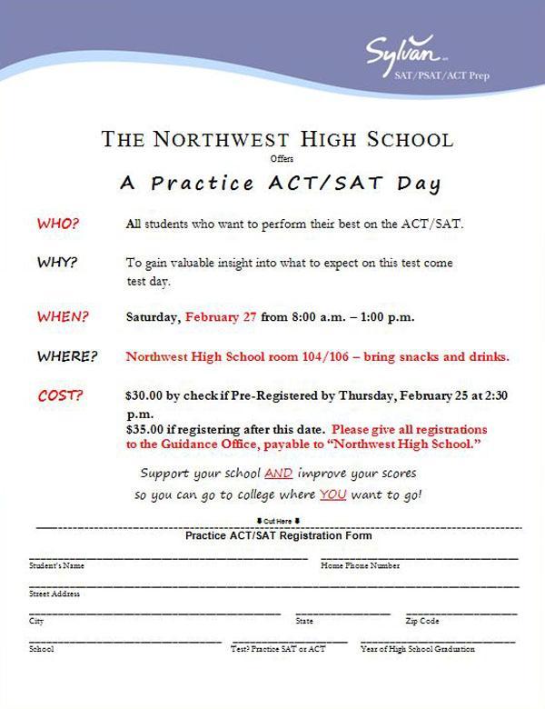 Northwest ACT SAT flyer Feb 2016