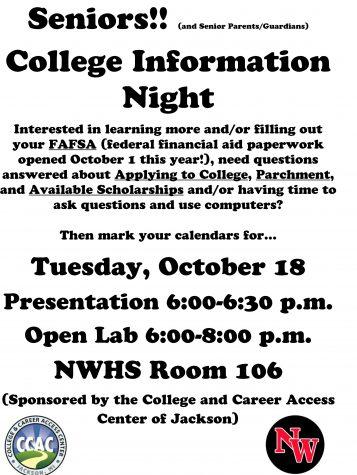 Senior college night, FAFSA information