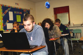 Students in Mrs. Danielle Smith's STEM English class work on a project.
