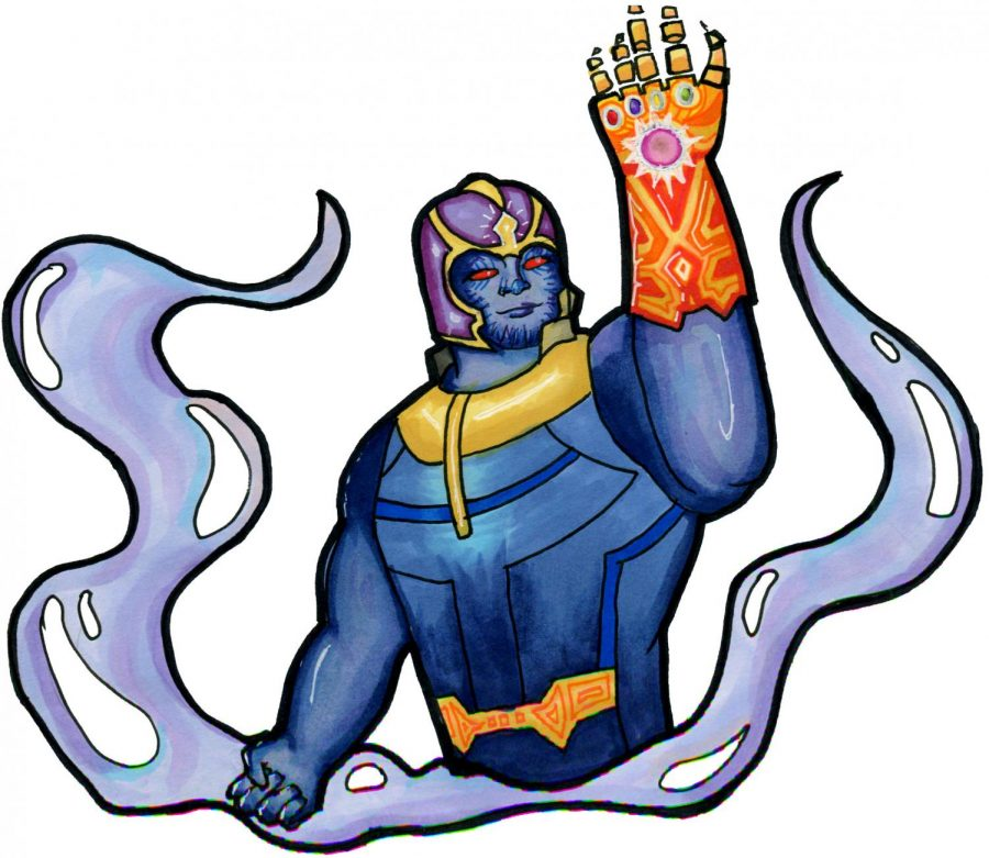 The evil Thanos with his infinity gauntlet.