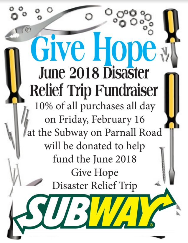 Subway hosts disaster relief fundraiser