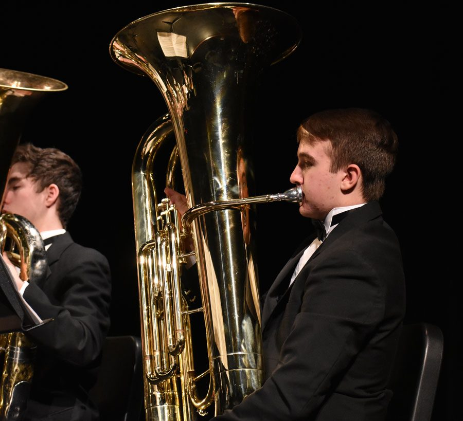 Freshman Tyler Smith plays the tuba in concert band. He switched from a sousaphone during marching band.
